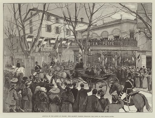 Arrival of the Queen at Grasse, Her Majesty passing through the Town to the Grand Hotel. Illustration for The Illustrated London News, 4 April 1891.