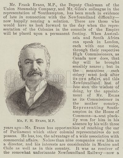 Mr F H Evans, MP. Illustration for The Illustrated London News, 27 June 1891.