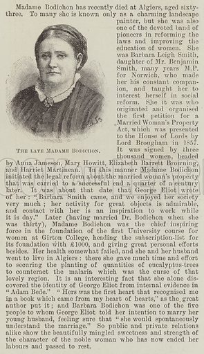 The late Madame Bodichon. Illustration for The Illustrated London News, 27 June 1891.