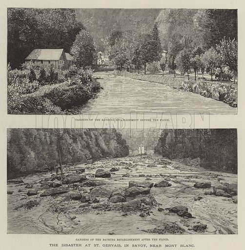 The Disaster at St Gervais, in Savoy, near Mont Blanc. Illustration for The Illustrated London News, 30 July 1892.