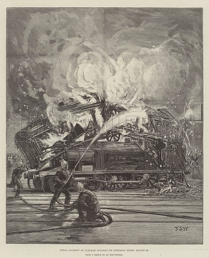 Fatal Accident at Clapham Junction on Saturday Night, 20 August. Illustration for The Illustrated London News, 27 August 1892.