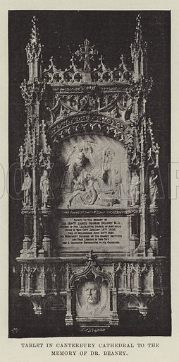 Tablet in Canterbury Cathedral to the Memory of Dr Beaney. Illustration for The Illustrated London News, 4 March 1893.