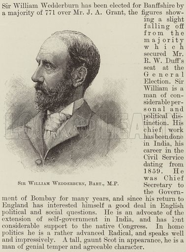 Sir William Wedderburn, Baronet, MP. Illustration for The Illustrated London News, 25 March 1893.