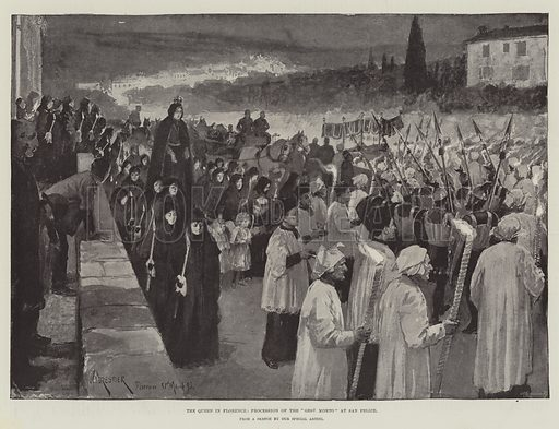 "The Queen in Florence, Procession of the ""Gesu Morto"" at San Felice. Illustration for The Illustrated London News, 22 April 1893."