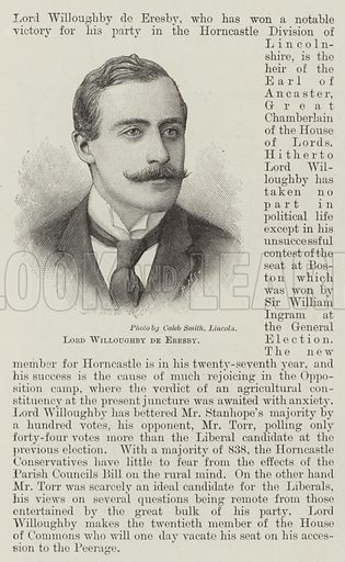 Lord Willoughby de Eresby. Illustration for The Illustrated London News, 20 January 1894.