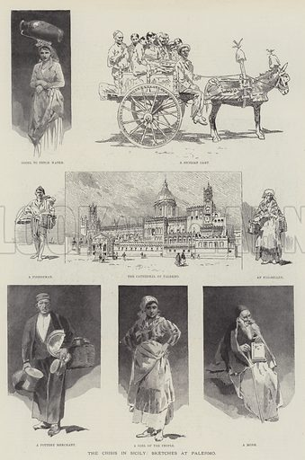 The Crisis in Sicily, Sketches at Palermo. Illustration for The Illustrated London News, 27 January 1894.