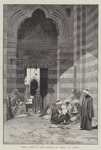 Great Door of the Mosque El Azhar in Cairo. Illustration for The Illustrated London News, 3 March 1894.