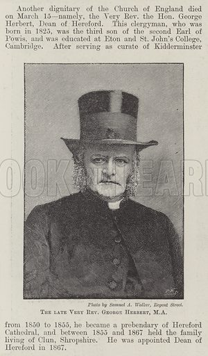 The late Very Reverend George Herbert, MA. Illustration for The Illustrated London News, 24 March 1894.