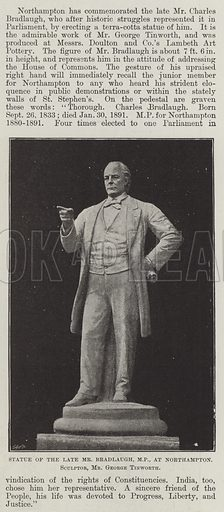 Statue of the late Mr Bradlaugh, MP, at Northampton, Sculptor, Mr George Tinworth. Illustration for The Illustrated London News, 23 June 1894.
