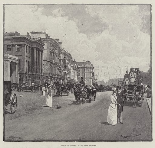London Sketches, Hyde Park Corner. Illustration for The Illustrated London News, 23 June 1894.
