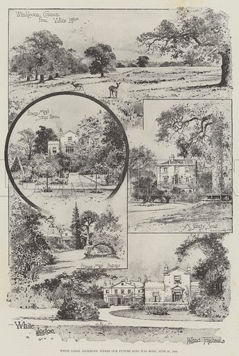 White Lodge, Richmond, where our Future King was born, 23 June 1894. Illustration for The Illustrated London News, 30 June 1894.