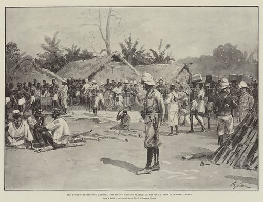 The Ashanti Expedition, Akroful, the Second Halting Station on the March from Cape Coast Castle. Illustration for The Illustrated London News, 1 February 1896.