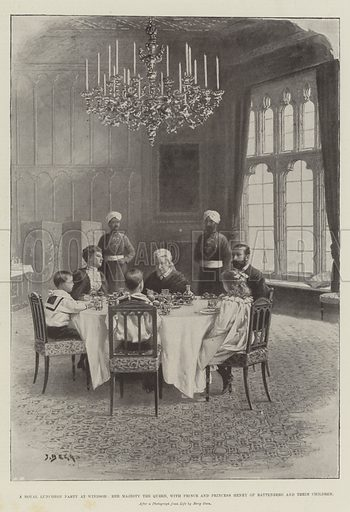 A Royal Luncheon Party at Windsor, Her Majesty the Queen, with Prince and Princess Henry of Battenberg and their Children. Illustration for The Illustrated London News, 8 February 1896.
