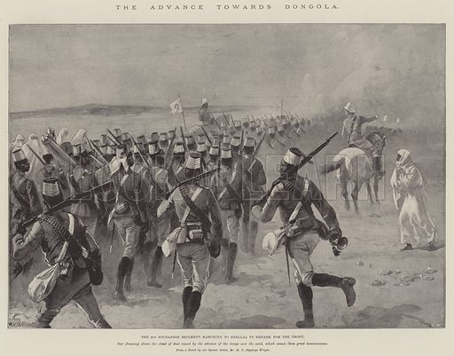 The Advance towards Dongola, the 9th Soudanese Regiment marching to Shellal to embark for the Front. Illustration for The Illustrated London News, 25 April 1896.