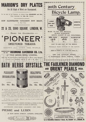 Page of Advertisements. Illustration for The Illustrated London News, 27 June 1896.