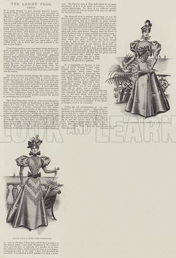 The Ladies' Page, Dress. Illustration for The Illustrated London News, 29 August 1896.