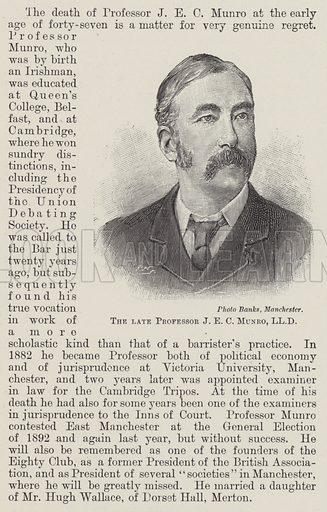 The late Professor JEC Munro, LLD Illustration for The Illustrated London News, 19 September 1896.