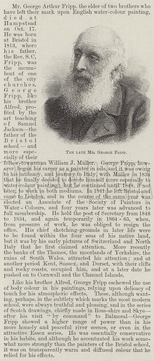 The late Mr George Fripp. Illustration for The Illustrated London News, 24 October 1896.