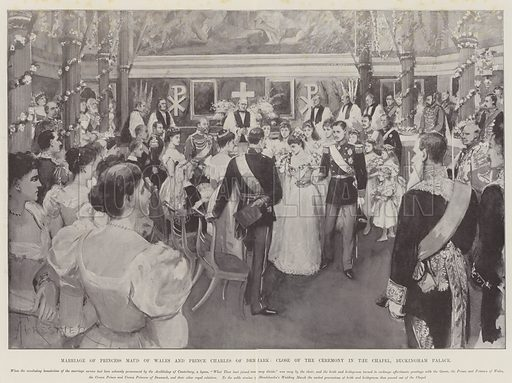 Marriage of Princess Maud of Wales and Prince Charles of Denmark, Close of the Ceremony in the Chapel, Buckingham Palace. Illustration for The Illustrated London News, 29 July 1896.