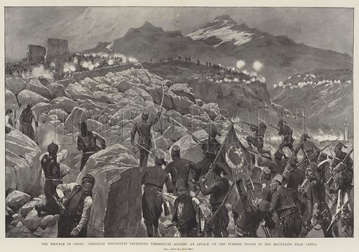 The Trouble in Crete, Christian Insurgents defending themselves against an Attack of the Turkish Troops in the Mountains near Canea. Illustration for The Illustrated London News, 22 August 1896.