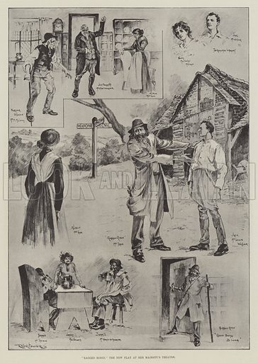 """Ragged Robin,"" the New Play at Her Majesty's Theatre. Illustration for The Illustrated London News, 2 July 1898."