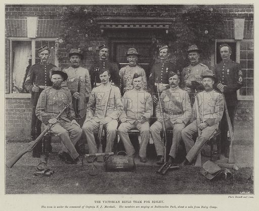 The Victorian Rifle Team for Bisley. Illustration for The Illustrated London News, 9 July 1898.