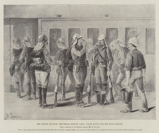 The Soudan Advance, the Troops leaving Cairo, Water Supply for the Rifle Brigade. Illustration for The Illustrated London News, 27 August 1898.