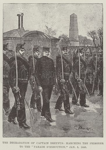 """The Degradation of Captain Dreyfus, marching the Prisoner to the """"Parade d'Execution,"""" 5 January 1895. Illustration for The Illustrated London News, 10 September 1898."""