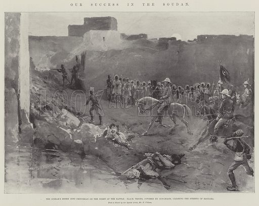 Our Success in the Soudan, the Sirdar's Entry into Omdurman on the Night of the Battle, Black Troops, covered by Gun Boats, clearing the Streets of Baggara. Illustration for The Illustrated London News, 1 October 1898.