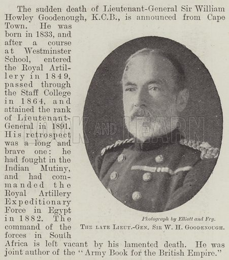 The late Lieutenant-General Sir W H Goodenough. Illustration for The Illustrated London News, 29 October 1898.