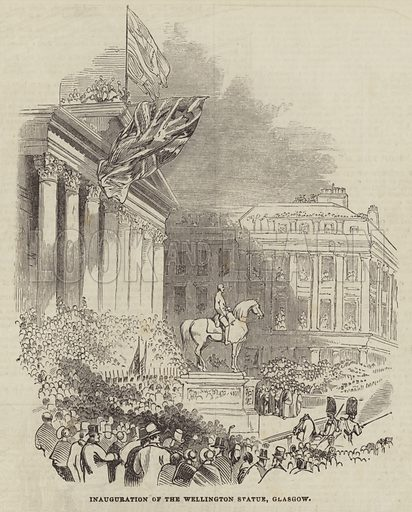 Inauguration of the Wellington Statue, Glasgow. Illustration for The Illustrated London News, 26 October 1844.