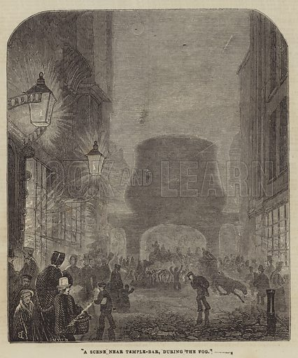 A Scene near Temple-Bar, during the Fog. Illustration for The Illustrated London News, 23 November 1844.