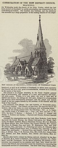 New Church at Bracknell, consecrated on Wednesday Week. Illustration for The Illustrated London News, 8 March 1851.