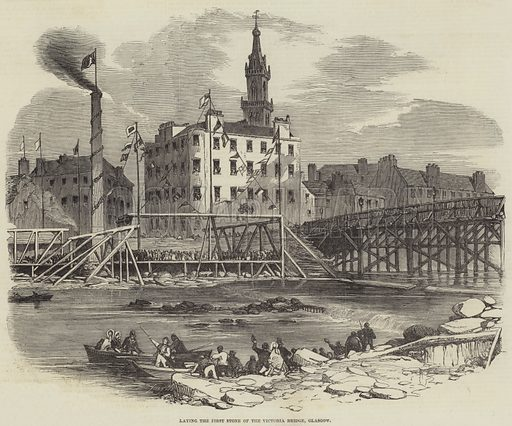 Laying the First Stone of the Victoria Bridge, Glasgow. Illustration for The Illustrated London News, 19 April 1851.