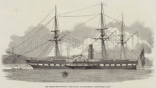 "The Turkish Steam-Frigate ""Feiza Baari,"" at Southampton. Illustration for The Illustrated London News, 3 May 1851."