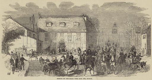 Sketch on the Road, the Cock Inn, Sutton. Illustration for The Illustrated London News, 24 May 1851.
