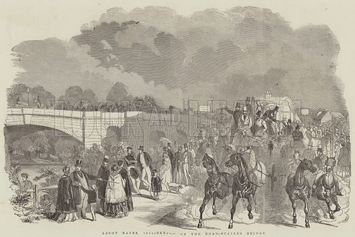 Ascot Races, 1851, Sketch on the Road, Staines Bridge. Illustration for The Illustrated London News, 7 June 1851.
