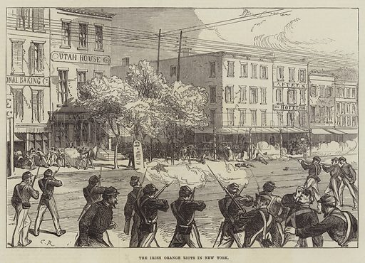 The Irish Orange Riots in New York. Illustration for The Illustrated London News, 5 August 1871.