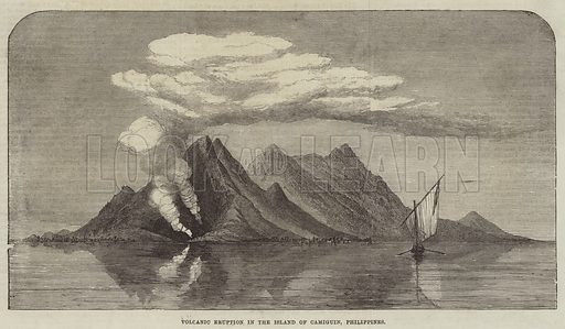 Volcanic Eruption in the Island of Camiguin, Philippines. Illustration for The Illustrated London News, 7 October 1871.