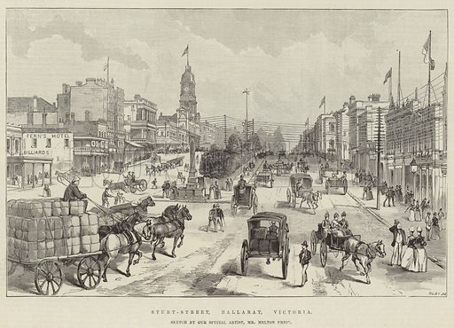 Sturt-Street, Ballarat, Victoria. Illustration for The Illustrated London News, 2 February 1889.