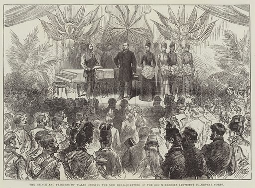 The Prince and Princess of Wales opening the New Head-Quarters of the 20th Middlesex (Artists') Volunteer Corps. Illustration for The Illustrated London News, 30 March 1889.