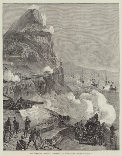 The Defence of Gibraltar, Combined Naval and Military Operations, 13 March. Illustration for The Illustrated London News, 6 April 1889.
