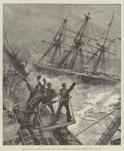 The Disastrous Hurricane in Samoa, Crew of the American Ship Trenton cheering HMS Calliope. Illustration for The Illustrated London News, 27 April 1889.