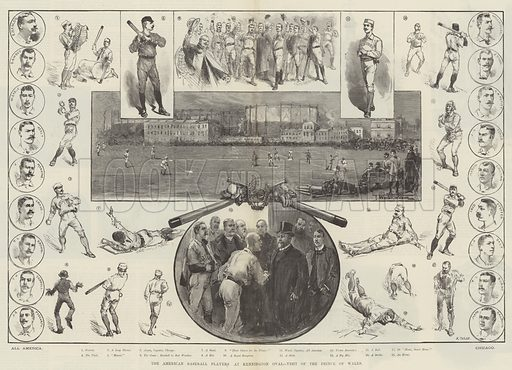 The American Baseball Players at Kennington Oval, Visit of the Prince of Wales. Illustration for The Illustrated London News, 23 March 1889.