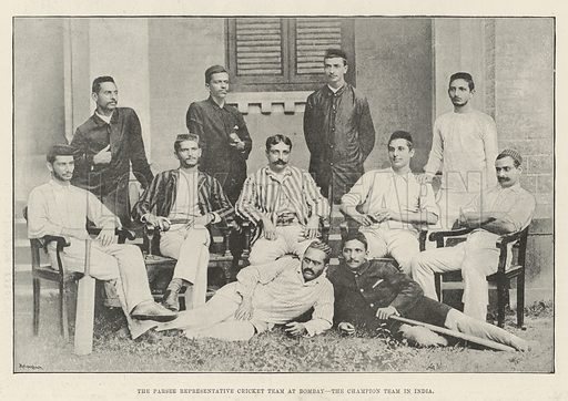 The Parsee Representative Cricket Team at Bombay, the Champion Team in India. Illustration for The Illustrated London News, 15 March 1890.