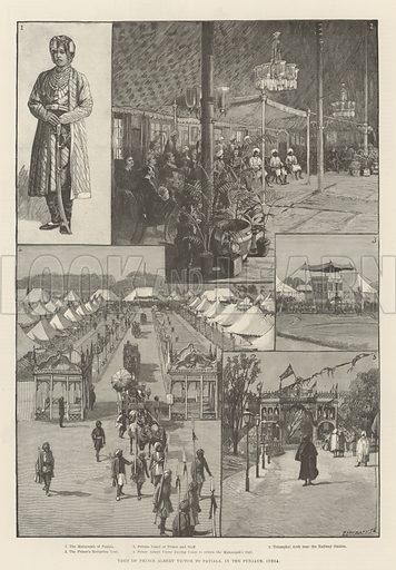 Visit of Prince Albert Victor to Patiala, in the Punjaub, India. Illustration for The Illustrated London News, 12 April 1890.