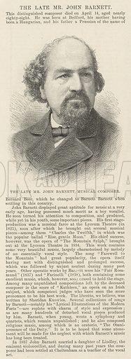 The late Mr John Barnett, Musical Composer. Illustration for The Illustrated London News, 26 April 1890.