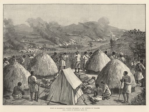 Stanley's Emin Pasha Relief Expedition, Fight in Majamboni's Country, 11 December 1887, burning of Villages. Illustration for The Illustrated London News, 3 March 1890.