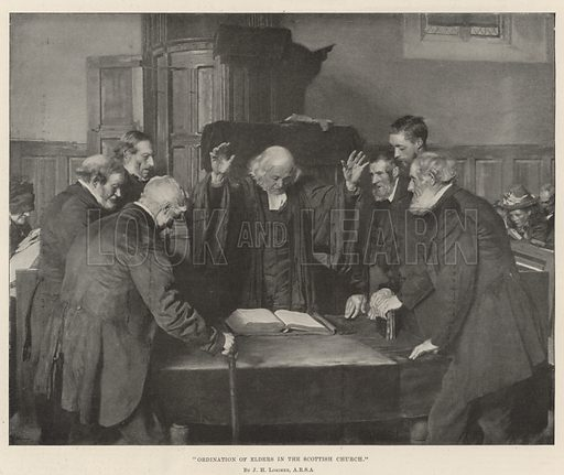 Ordination of Elders in the Scottish Church. Illustration for The Illustrated London News, 19 August 1893.