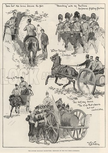 The Autumn Military Manoeuvres, Sketches on the Way from Aldershot. Illustration for The Illustrated London News, 16 September 1893.